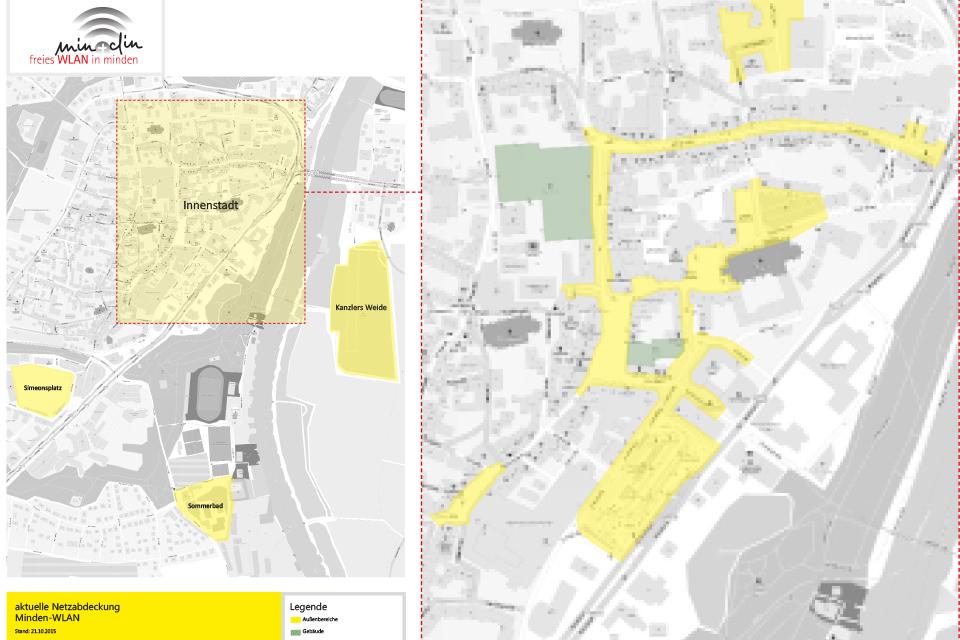 WLAN Karte Minden Innenstadt
